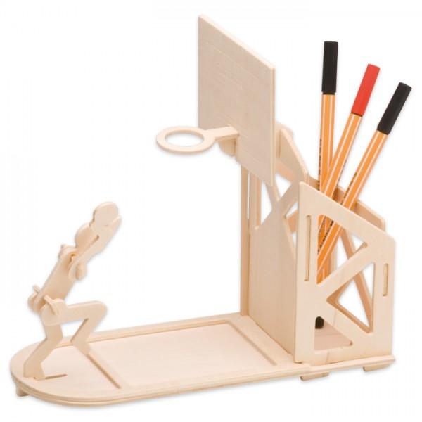 Holzbausatz Tischständer Basketball ca. 22x20cm 16 Teile, vorgestanzt, zum Zusammenstecken