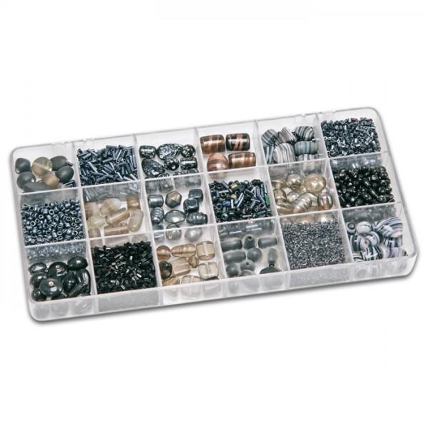 Schmuckbox groß Glasperlen 3-16mm 200g schwarz Lochgr. ca. 0,7-1,5mm