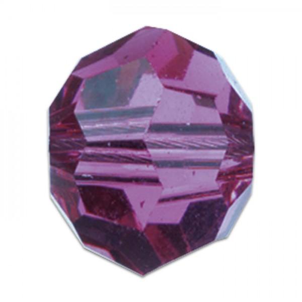 Facettenschliffperlen 10mm 18 St. tanzanite transparent, feuerpoliert, Glas, Lochgr. ca. 1,5mm