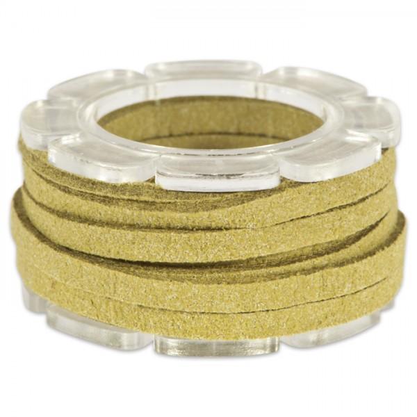 Veloursband textil 1,5 stark 3mm breit 2m oliv 50% Polyamid, 50% Nylon