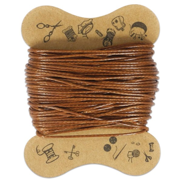 Kordel gewachst 0,5mm 10m hellbraun 100% Baumwolle