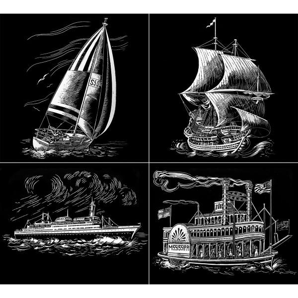 Kratzbilder-Set silber Schiffe 4 St. à 24,5x30cm