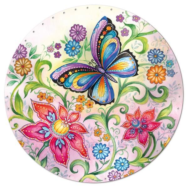 Korbflechtboden HDF 3mm Ø ca. 29cm rund Blumenwiese 45 Bohrungen 3mm, beidseitig lackiert