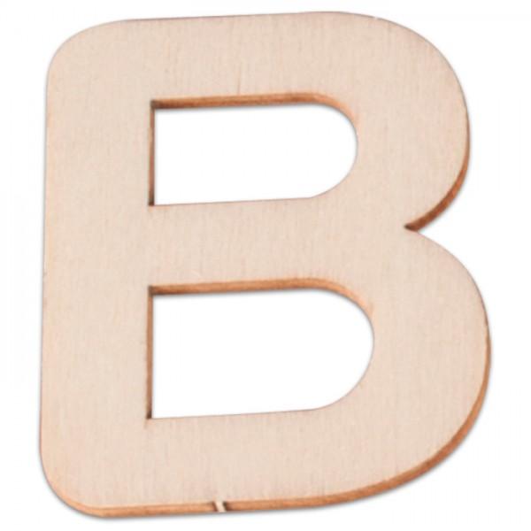 Holzbuchstabe B ca. 3mm 6cm hoch natur