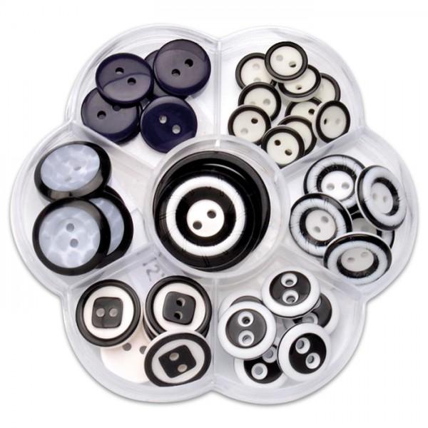 Knöpfe-Mix Kunststoff 11-30mm 40 St. schwarz/weiß