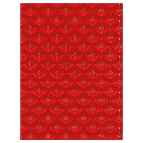 Decoupagepapier Texture Rundbogen rot von Décopatch, 30x40cm, mit Metalliceffekt