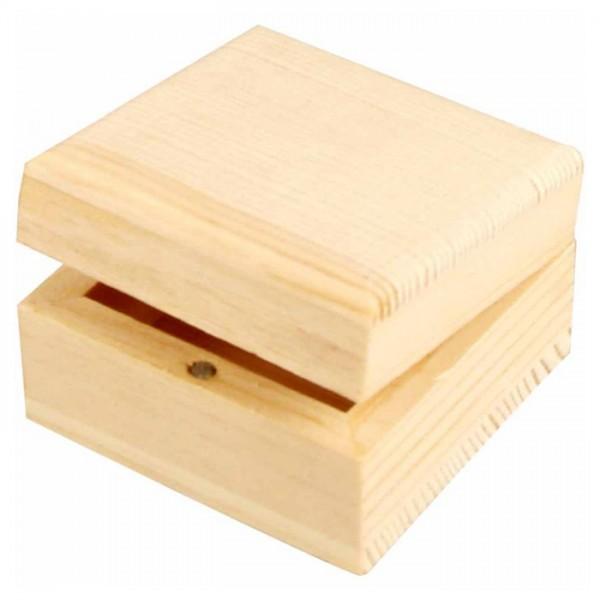 Holzkästchen mini Magnetverschluss h3,5cm 6x6cm natur