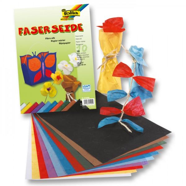 Faserseide/Strohseide 25g/m² 23x32cm 10 Bl./Farben