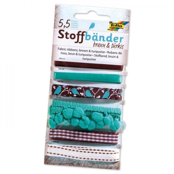 Stoffbänder 6 Designs 5,5m braun/türkis 100% Polyester