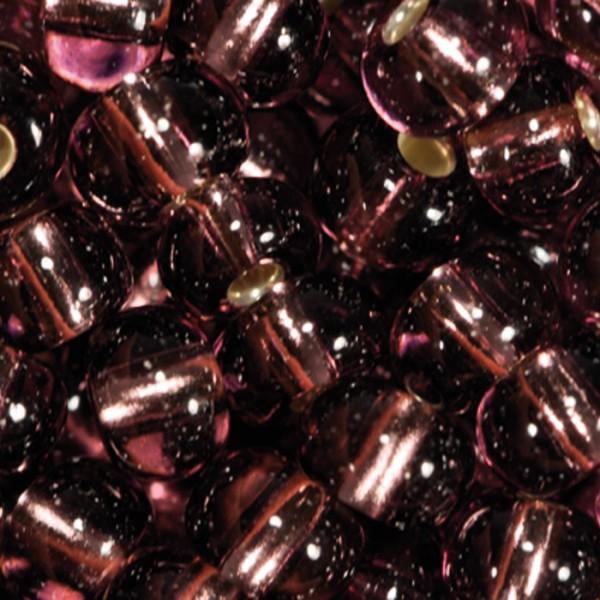 Rocailles transparent 4,5mm 17g dunkellila Silbereinzug, Glas, Lochgr. ca. 1mm