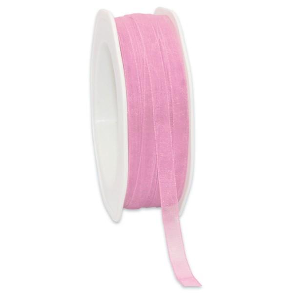 Organzaband 7mm 50m rosa mit Webkante, 100% Polyester
