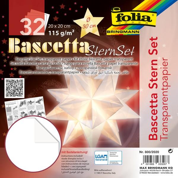 Bascetta-Stern ca. Ø 30cm 32 Bl. weiß 20x20cm, Transparentpapier, 115g/m²