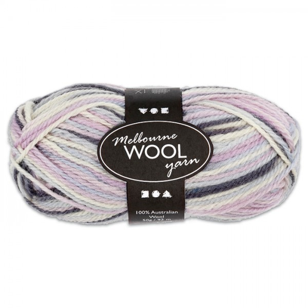 Garn Melbourne Filzwolle 50g hl.blau-grau-rosa 100% Wolle, LL 92m, Nadel Nr. 4