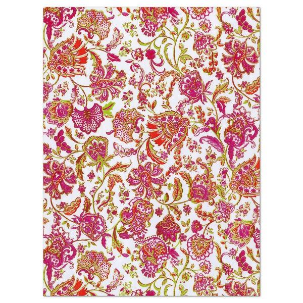 Decoupagepapier Blumen rot/pink auf weiß von Décopatch, 30x40cm, 20g/m²
