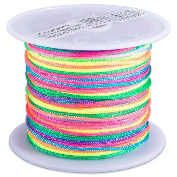 Knüpfgarn glänzend 1mm 5m neon multi 100% Polyester