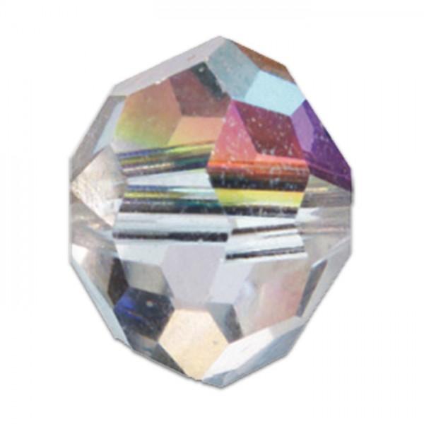 Facettenschliffperlen 10mm 18 St. cristall AB transparent, feuerpoliert, Glas, Lochgr. ca. 1,5mm