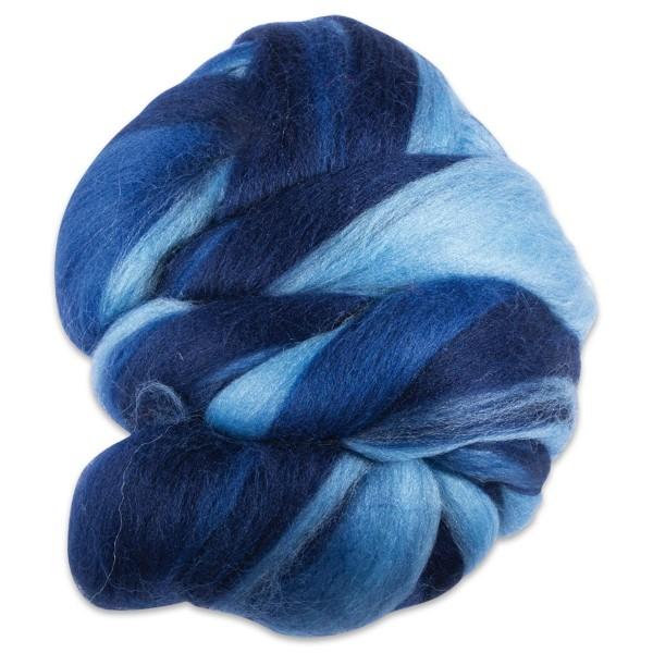 Multicolor-Merinowolle fein 100g Blautöne 100% Wolle, ca. 21mic