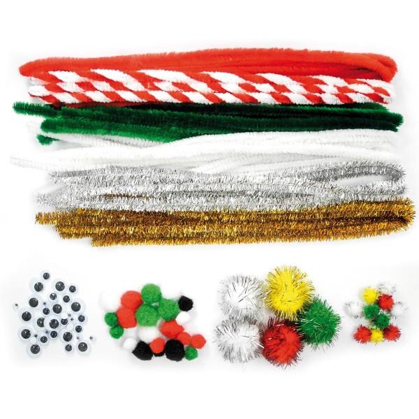 Bastel-Set Chenille Weihnachtsfarben 20 Draht à 50cm, Pompons&Wackelaugen