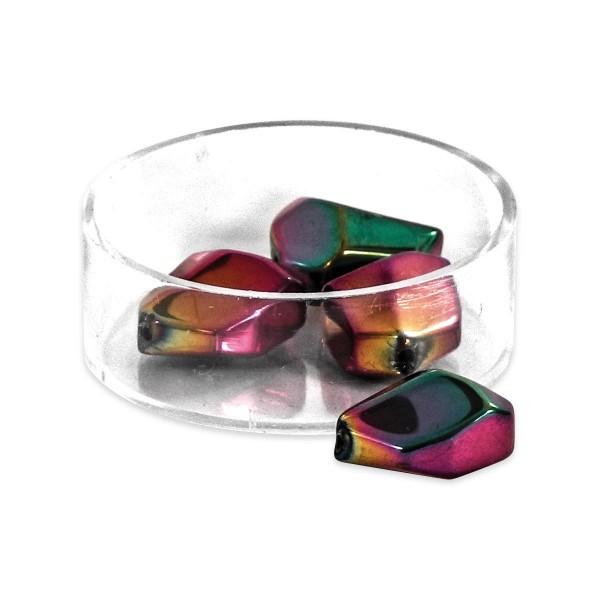 Glasschliffperlen ca. 16x13mm 10 St. pink-grün metallic Regenbogeneffekt, Lochgr. ca. 1mm