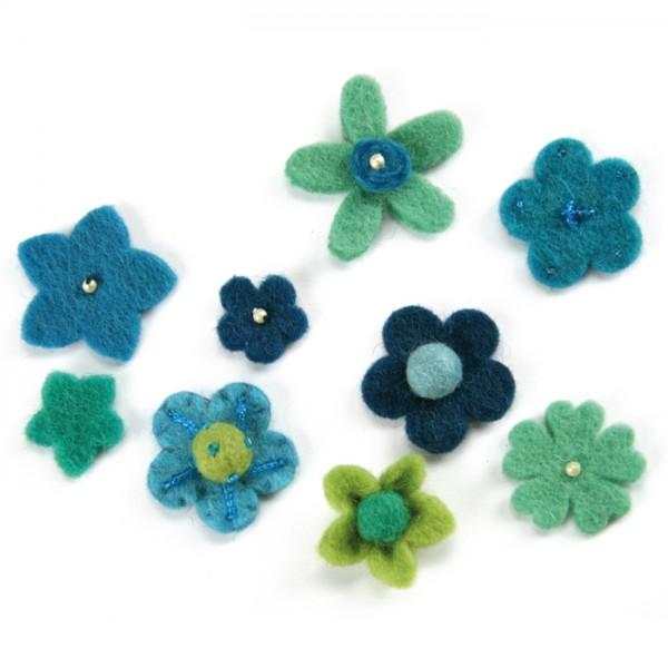 Filzblüten bis Ø 4cm 9 St. Blautöne 100% Polyester