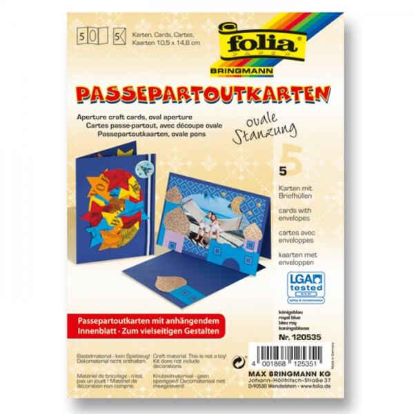 Passepartoutkarten DIN A6 5 St. oval königsblau inkl. Kuvert&Einlegeblatt, 220g/m²