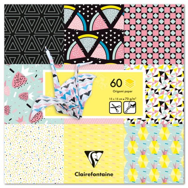 Origami-Papier 15x15cm 60 Bl. Früchte 70g/m², 30 Motive