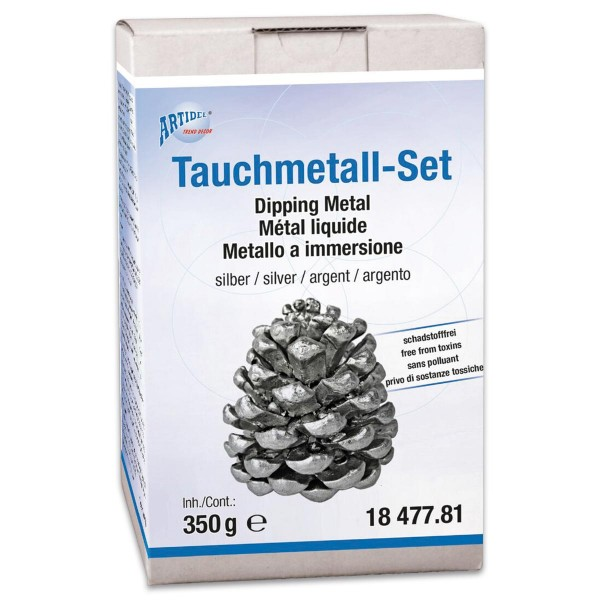 Tauchmetall-Set 350g silberfarben inkl. Haftmedium, Tauchmetall, Handschuhe