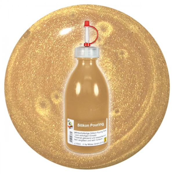 Just4Art Silikon Pouring Farbe 250ml gold mit Spritzdüse