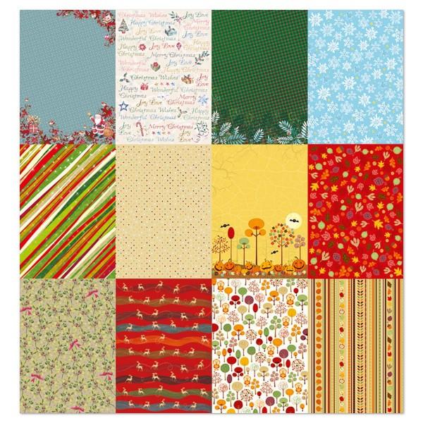 Designpapier-Block DIN A4 12 Bl./Motive Herbst/Winter mit Glitter, 165g/m²