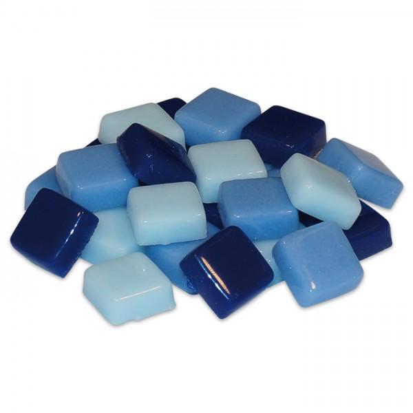Fantasy-Glasmosaik 10x10x4mm 200g blau mix ca. 200 Steine