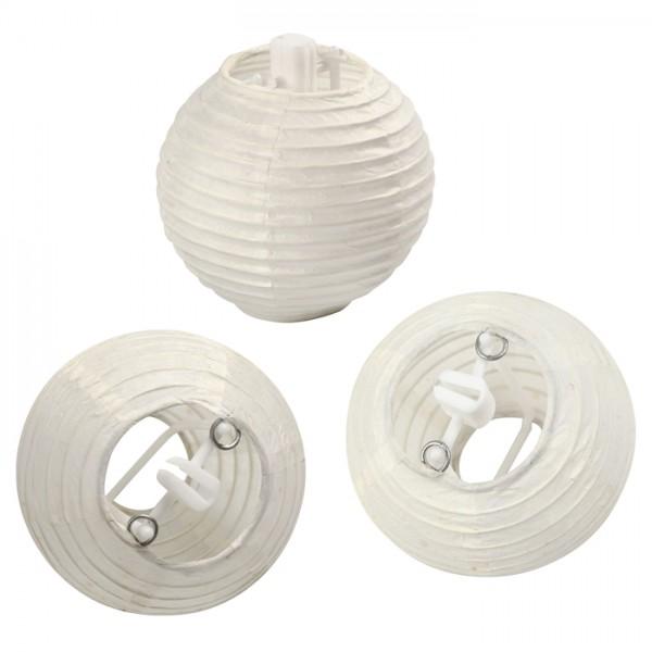 Papierlampions rund Ø 7,5cm 10 St. weiß Reispapier/Kunststoff