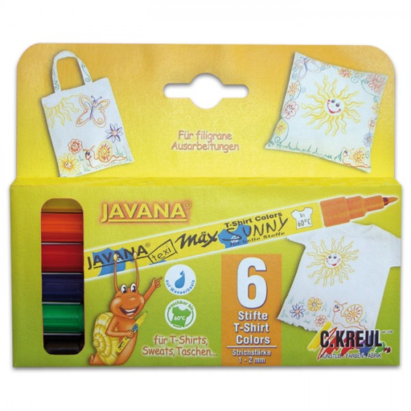 JAVANA Texi-Mäx Sunny Stoffmalstifte Set 6 St./Farben Strichbreite 1-2mm