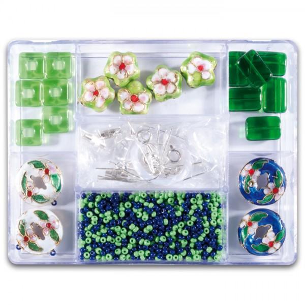 Glasperlen-Mix ca. 7-15mm ca. 70g grün Box 7 Fächer, inkl. Zubehör, Lochgr. ca. 0,7-1mm