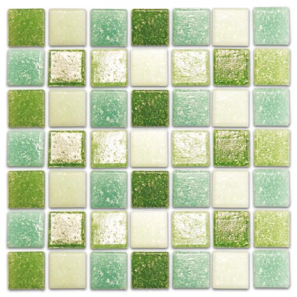 Glasmosaik Joy 10x10x4mm 200g grün mix ca. 290 Steine