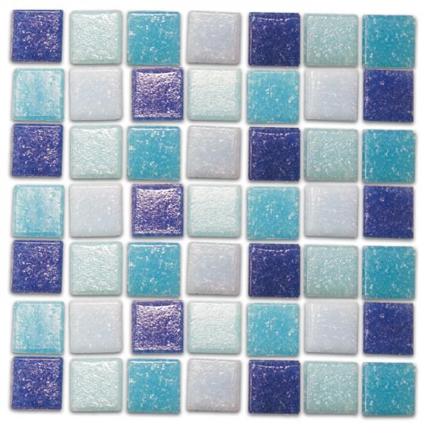 Glasmosaik Joy 10x10x4mm 200g blau mix ca. 290 Steine