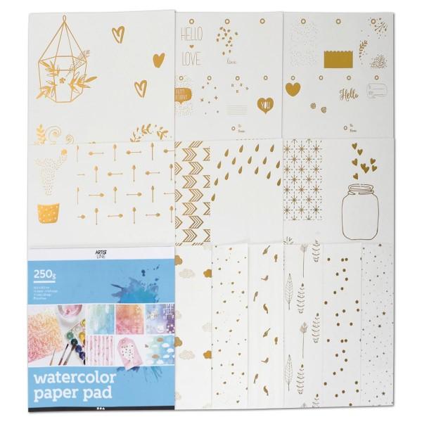 Malblock mit Druckdesign 250g/m² 30,5x30,5cm 12 Bl. Goldfolienmotive für Aquarellmalerei