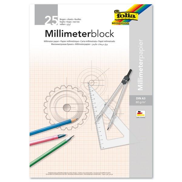 Millimeterblock 80g/m² DIN A3 25 Bl. Millimeterpapier