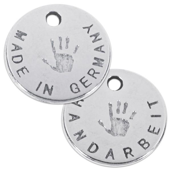 Metallanhänger Handarbeit rund 12mm 30 St. altplatinfarben Lochgröße ca. 1mm