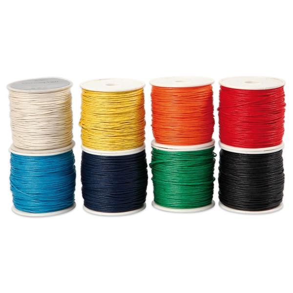Baumwollband gewachst 1mm 8 kräftige Farben à 40m 100% Baumwolle