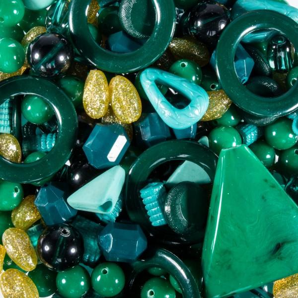Kunststoffperlen-Mix 4-40mm herbstgrün/goldf. ca. 300g Lochgr. ca. 1-9mm