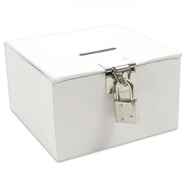 kleines Schatzkästchen Karton 10,5x10,5x6cm weiß mit Schlitz, inkl. Schloss&Schlüsseln