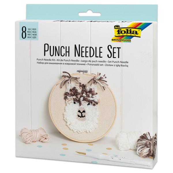 Punch Needle Set 8-teilig Alpaka inkl. Nadel, Stickrahmen, Wolle uvm.