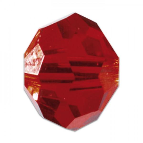 Facettenschliffperlen 6mm 30 St. light siam transparent, feuerpoliert, Glas, Lochgr. ca. 1mm