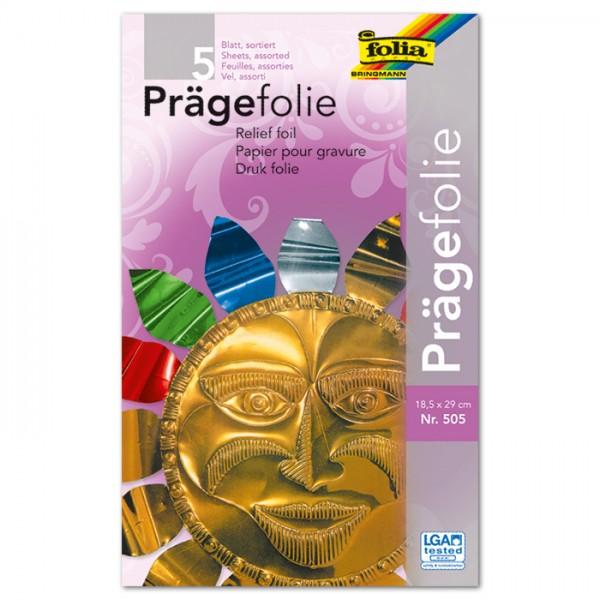 Prägefolien 18,5x29cm 5 St./Farben metallic multicolor Hartmetallfolie
