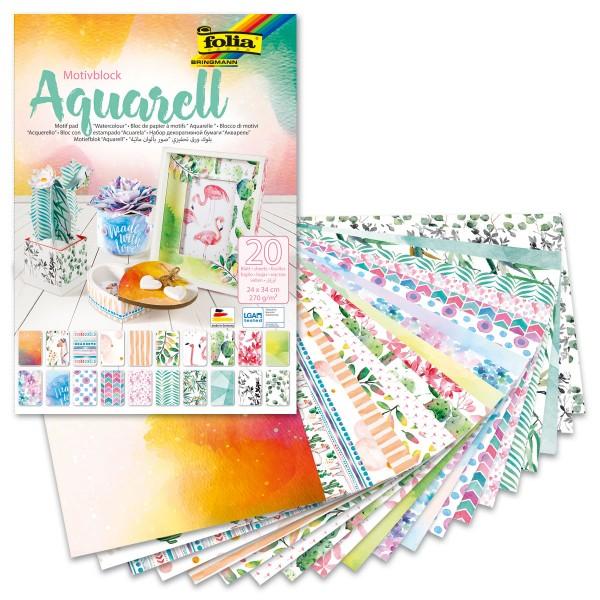 Motivblock 270g/m² 24x34cm 20 Bl./Designs Aquarell