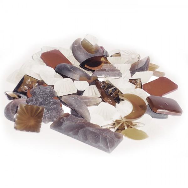 Glassteine gemischte Formen 100g braun