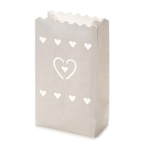 Papier-Lichttüten Herz ca.26x15x9cm 10St. weiß - Preis gesenkt!