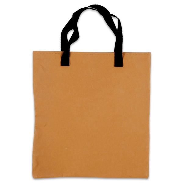 Einkaufstasche Kunstleder-Papier 35x38cm hellbraun Cellulose&Latex, Polyester-Henkel, waschbar bis 4