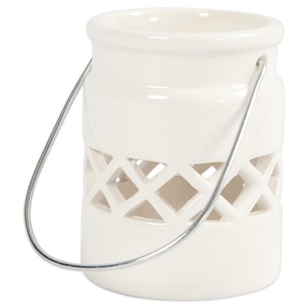 Laterne/Windlicht Porzellan Ø 6,9x7,4cm weiß