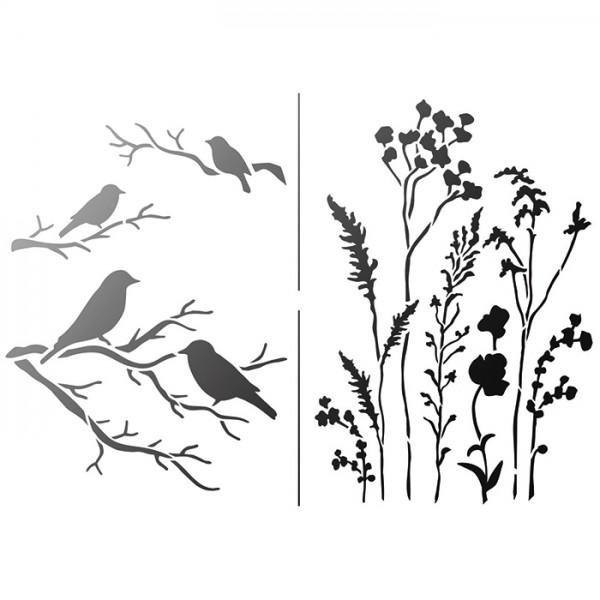 Universal-Schablone DIN A4 Gräser & Vögel Kunststoff